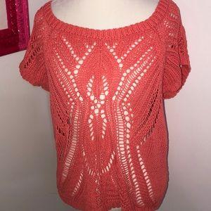 Lauren Conrad crochet short sleeve see through top